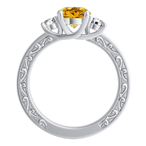 ELEANOR  Three  Stone  Yellow  Diamond  Engagement  Ring  In  14K  White  Gold  With  0.50  Carat  Round  Diamond