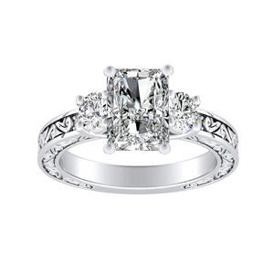 ELEANOR Three Stone Diamond Engagement Ring In 14K White Gold