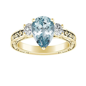 ELEANOR  Three  Stone  Aquamarine  Engagement  Ring  In  14K  Yellow  Gold  With  1.00  Carat  Pear  Stone
