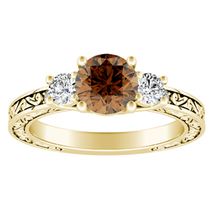 ELEANOR  Three  Stone  Brown  Diamond  Engagement  Ring  In  14K  Yellow  Gold  With  0.50  Carat  Round  Diamond