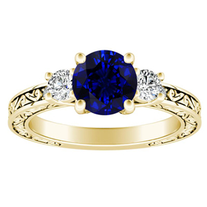 ELEANOR Three Stone Blue Sapphire Engagement Ring In 14K Yellow Gold With 0.50 Carat Round Stone