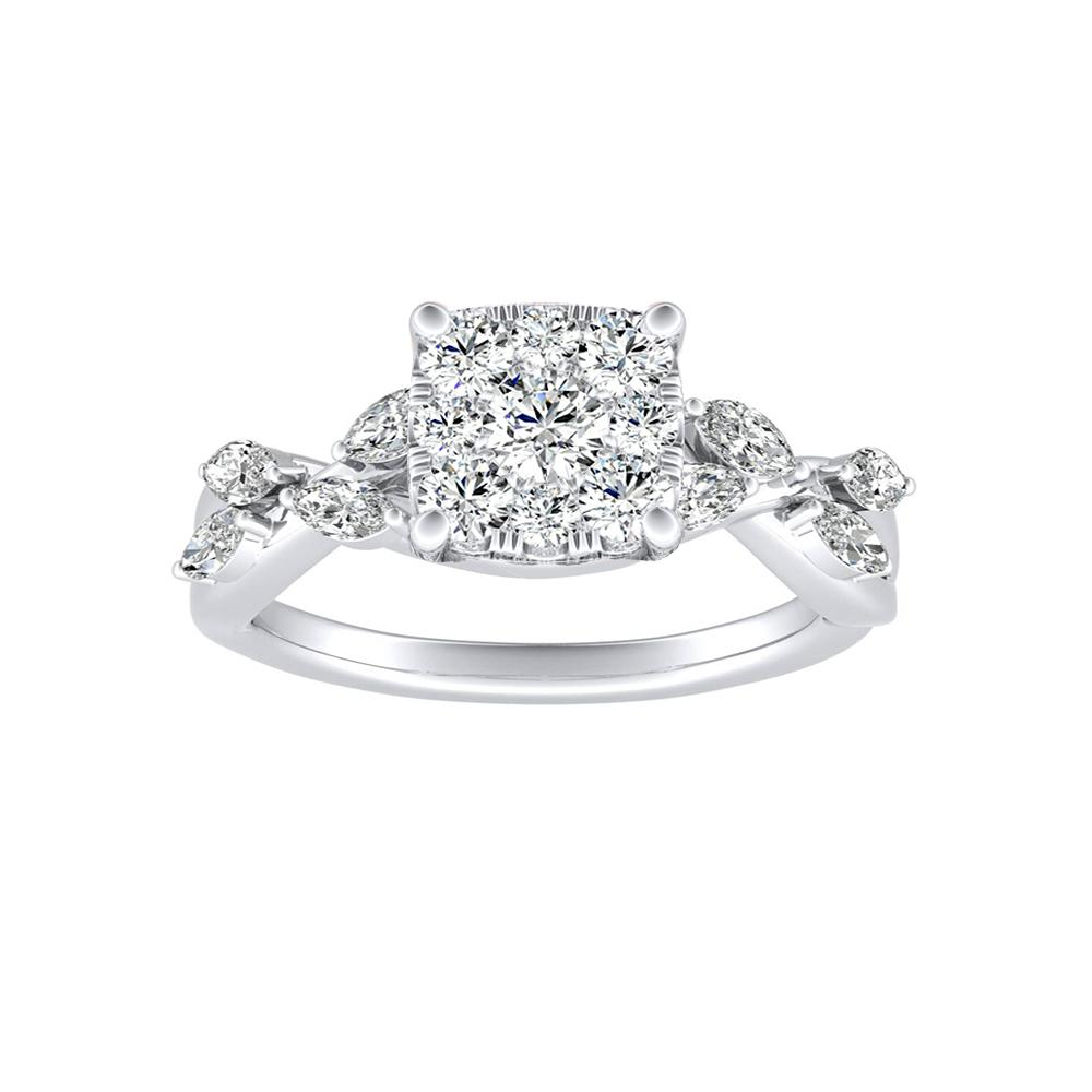 BLOSSOM Diamond Engagement Ring In 14K White Gold With Cushion Diamond In H-I SI1-SI2 Quality