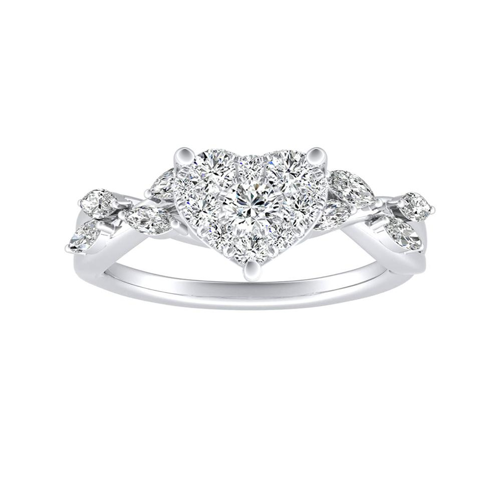 BLOSSOM Diamond Engagement Ring In 14K White Gold With Heart Diamond In H-I SI1-SI2 Quality