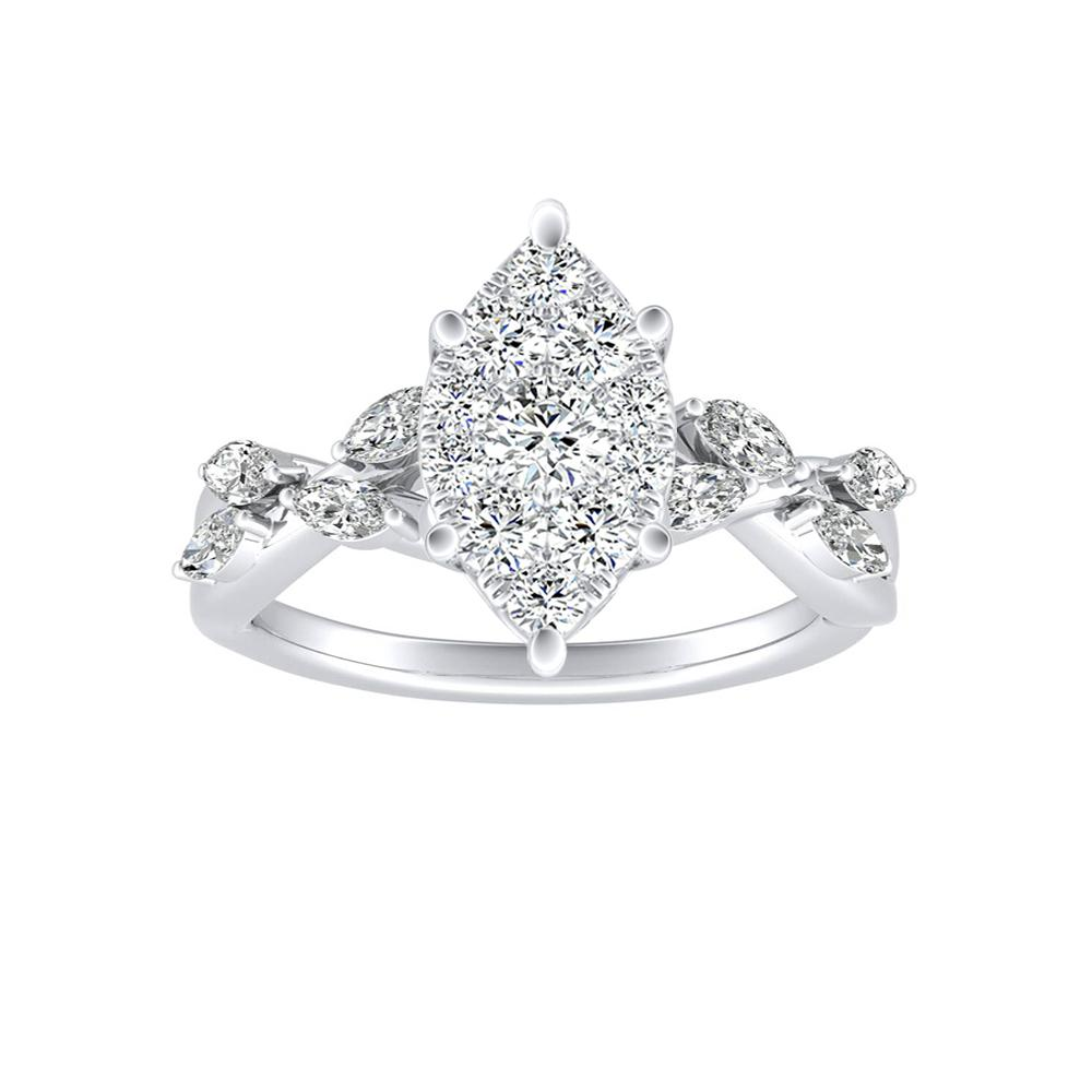 BLOSSOM Diamond Engagement Ring In 14K White Gold With Marquise Diamond In H-I SI1-SI2 Quality