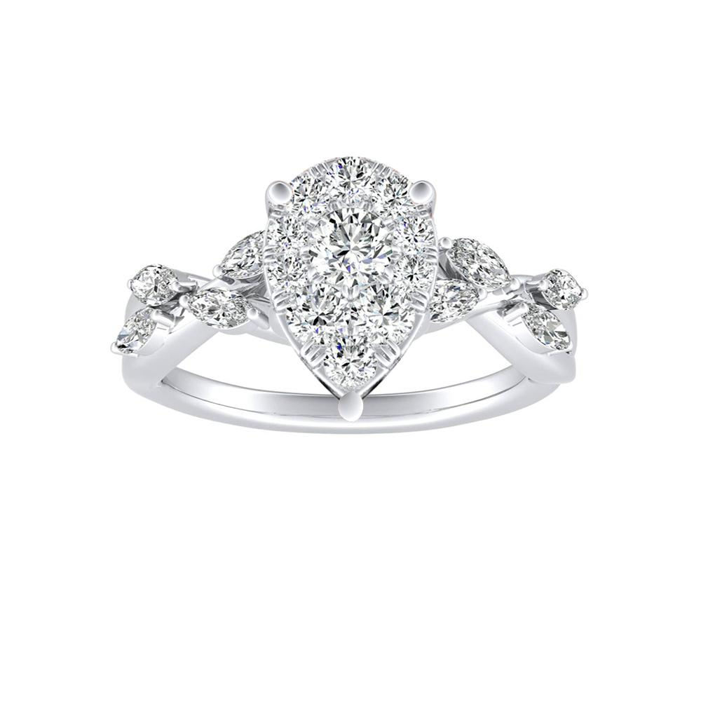 BLOSSOM Diamond Engagement Ring In 14K White Gold With Pear Diamond In H-I SI1-SI2 Quality