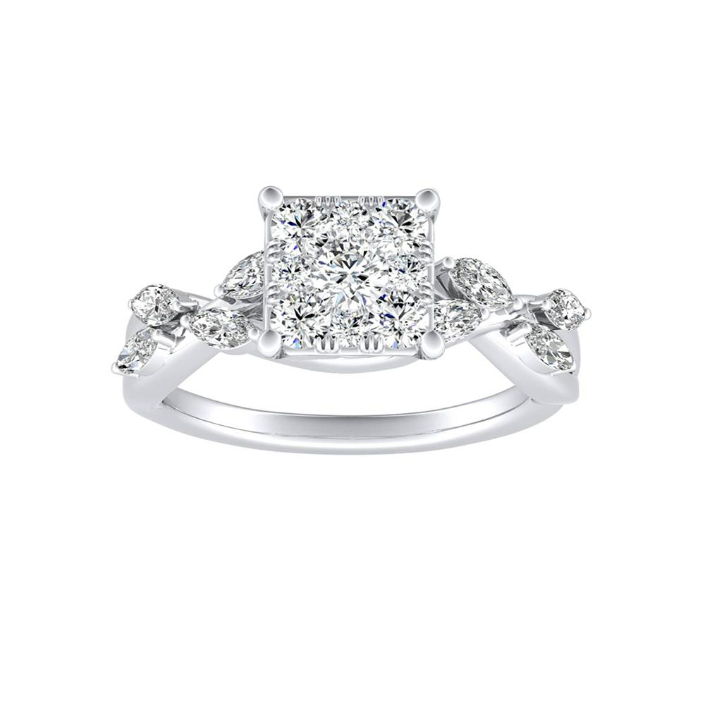 BLOSSOM Diamond Engagement Ring In 14K White Gold With Princess Diamond In H-I SI1-SI2 Quality
