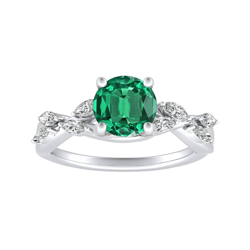 BLOSSOM Green Emerald Engagement Ring In 14K White Gold With 0.50 Carat Round Stone