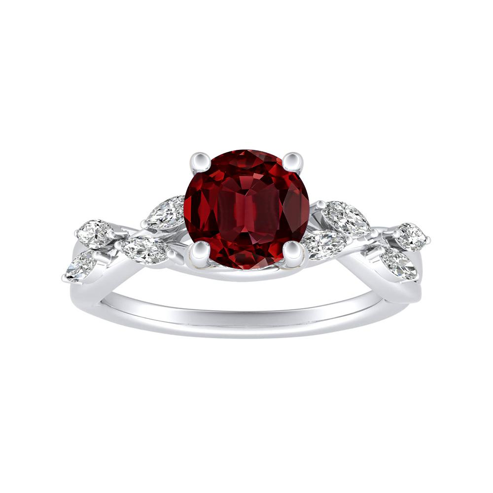 BLOSSOM Ruby Engagement Ring In 14K White Gold With 0.50 Carat Round Stone