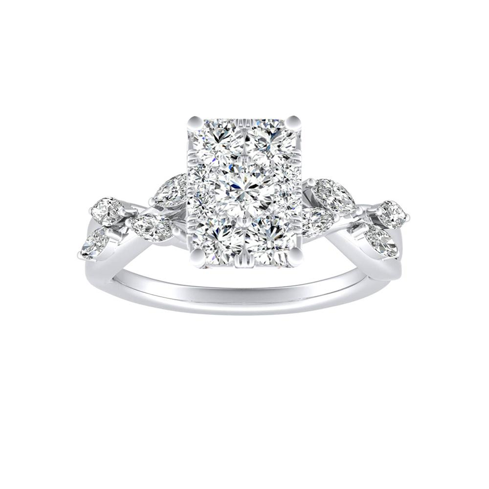 BLOSSOM Diamond Engagement Ring In 14K White Gold With Radiant Diamond In H-I SI1-SI2 Quality