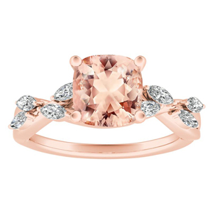 BLOSSOM Morganite Engagement Ring In 14K Rose Gold With 1.00 Carat Cushion Stone