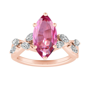 BLOSSOM  Pink  Sapphire  Engagement  Ring  In  14K  Rose  Gold  With  0.50  Carat  Marquise  Stone