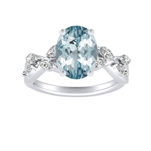 BLOSSOM Aquamarine Engagement Ring In 14K White Gold With 3.00 Carat Oval Stone