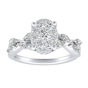 BLOSSOM Diamond Engagement Ring In 14K White Gold With Oval Diamond In H-I SI1-SI2 Quality