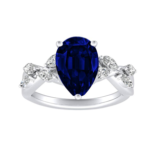 BLOSSOM  Blue  Sapphire  Engagement  Ring  In  14K  White  Gold  With  0.50  Carat  Pear  Stone