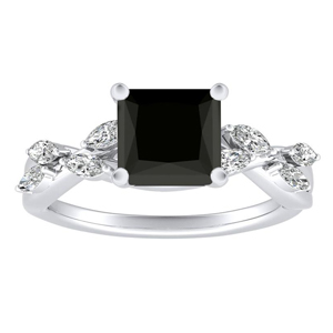 BLOSSOM  Black  Diamond  Engagement  Ring  In  14K  White  Gold  With  1.00  Carat  Princess  Diamond