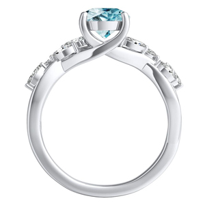 BLOSSOM  Aquamarine  Engagement  Ring  In  14K  White  Gold  With  1.00  Carat  Round  Stone
