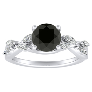 BLOSSOM  Black  Diamond  Engagement  Ring  In  14K  White  Gold  With  1.00  Carat  Round  Diamond