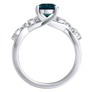 BLOSSOM  Blue  Diamond  Engagement  Ring  In  14K  White  Gold  With  0.50  Carat  Round  Diamond
