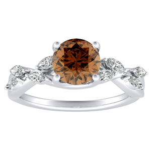 BLOSSOM Brown Diamond Engagement Ring In 14K White Gold With 0.30 Carat Round Diamond