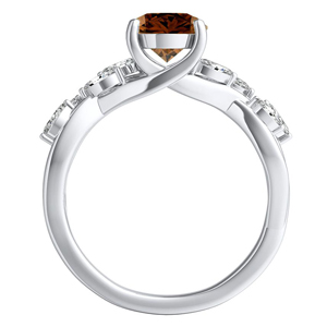 BLOSSOM  Brown  Diamond  Engagement  Ring  In  14K  White  Gold  With  0.50  Carat  Round  Diamond