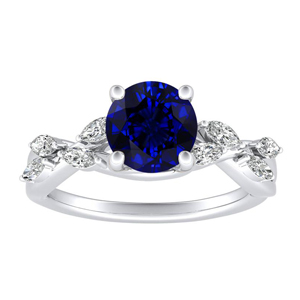 BLOSSOM Blue Sapphire Engagement Ring In 14K White Gold With 0.30 Carat Round Stone