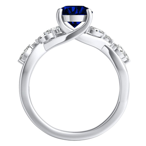BLOSSOM  Blue  Sapphire  Wedding  Ring  Set  In  14K  White  Gold  With  0.50  Carat  Round  Stone
