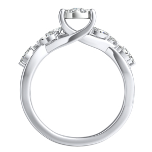 BLOSSOM Diamond Engagement Ring In 14K White Gold With Round Diamond In H-I SI1-SI2 Quality