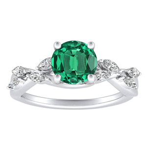 BLOSSOM Green Emerald Engagement Ring In 14K White Gold With 0.30 Carat Round Stone