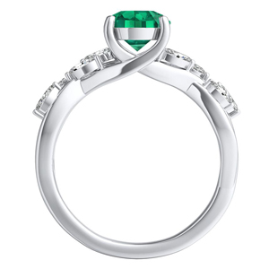 BLOSSOM  Green  Emerald  Engagement  Ring  In  14K  White  Gold  With  0.50  Carat  Emerald  Stone