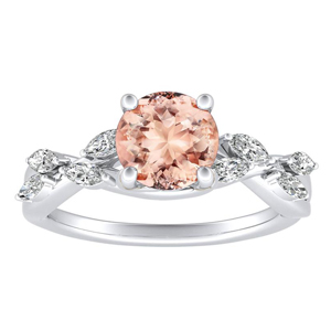 BLOSSOM Morganite Engagement Ring In 14K White Gold With 1.00 Carat Round Stone