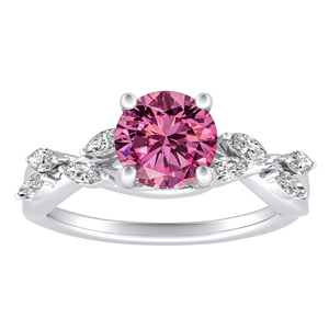 BLOSSOM  Pink  Sapphire  Engagement  Ring  In  14K  White  Gold  With  0.50  Carat  Round  Stone