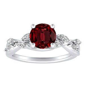 BLOSSOM Ruby Engagement Ring In 14K White Gold With 0.30 Carat Round Stone