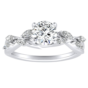 BLOSSOM Moissanite Engagement Ring In 14K White Gold With 0.50 Carat Round Stone