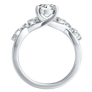 BLOSSOM  Moissanite  Wedding  Ring  Set  In  14K  White  Gold  With  0.50  Carat  Round  Stone