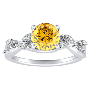 BLOSSOM  Yellow  Diamond  Engagement  Ring  In  14K  White  Gold  With  0.50  Carat  Round  Diamond