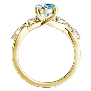 BLOSSOM  Aquamarine  Engagement  Ring  In  14K  Yellow  Gold  With  1.00  Carat  Pear  Stone
