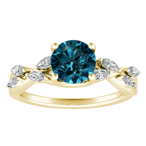 BLOSSOM  Blue  Diamond  Engagement  Ring  In  14K  Yellow  Gold  With  0.50  Carat  Round  Diamond