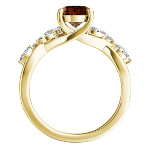 BLOSSOM  Brown  Diamond  Engagement  Ring  In  14K  Yellow  Gold  With  0.50  Carat  Round  Diamond