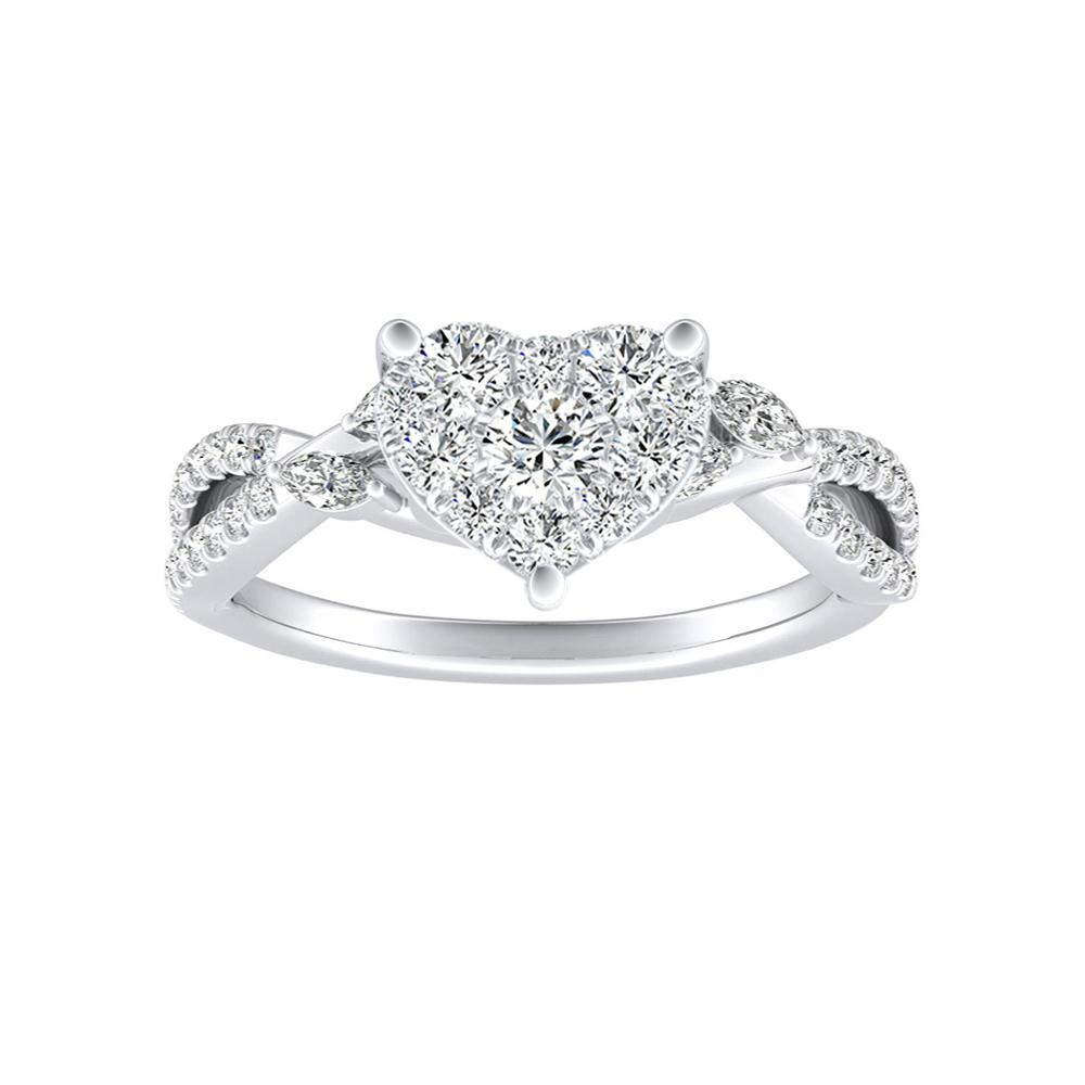 MEADOW Diamond Engagement Ring In 14K White Gold With Heart Diamond In H-I SI1-SI2 Quality