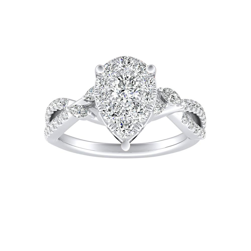MEADOW Diamond Engagement Ring In 14K White Gold With Pear Diamond In H-I SI1-SI2 Quality