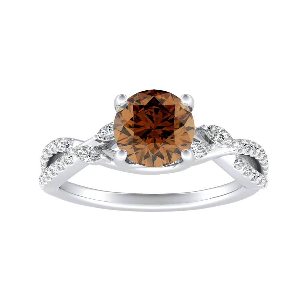 MEADOW Brown Diamond Engagement Ring In 14K White Gold With 0.50 Carat Round Diamond