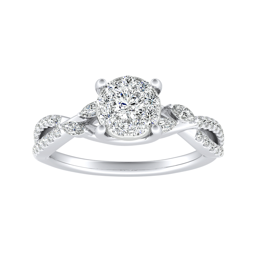 MEADOW Diamond Engagement Ring In 14K White Gold With Round Diamond In H-I SI1-SI2 Quality