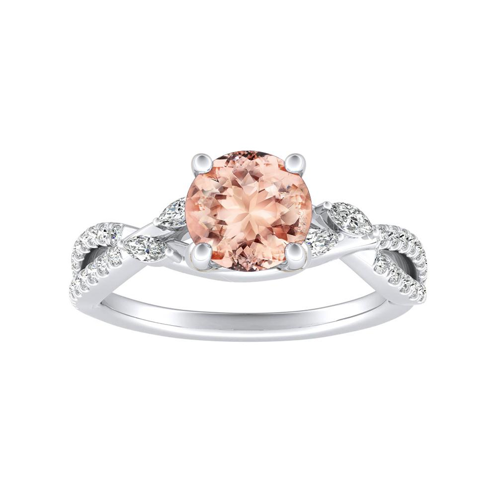 MEADOW Morganite Engagement Ring In 14K White Gold With 1.00 Carat Round Stone