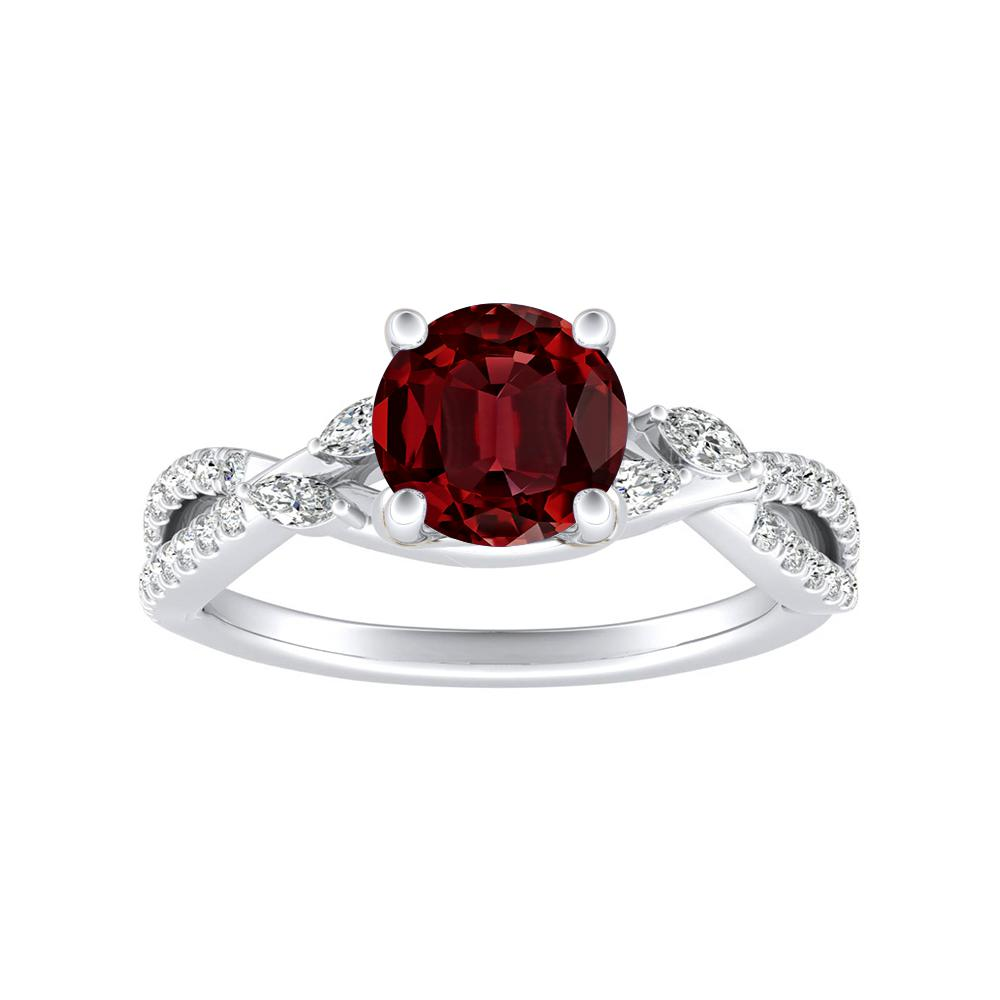 MEADOW Ruby Engagement Ring In 14K White Gold With 0.50 Carat Round Stone