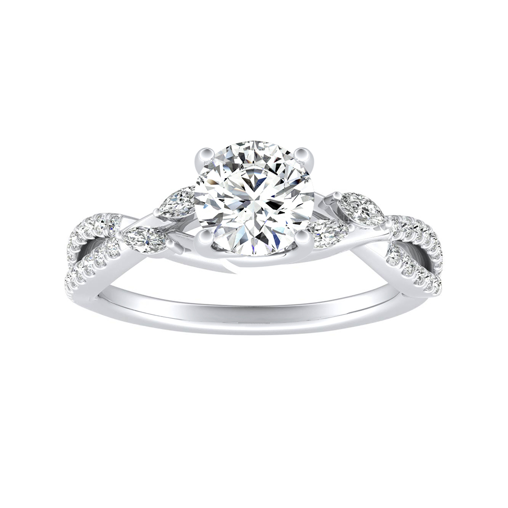 MEADOW Moissanite Engagement Ring In 14K White Gold With 0.50 Carat Round Stone
