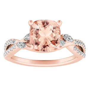 MEADOW Morganite Engagement Ring In 14K Rose Gold With 1.00 Carat Cushion Stone