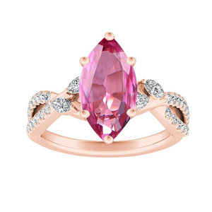 MEADOW  Pink  Sapphire  Engagement  Ring  In  14K  Rose  Gold  With  0.50  Carat  Marquise  Stone