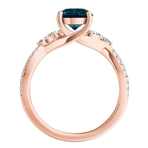 MEADOW  Blue  Diamond  Engagement  Ring  In  14K  Rose  Gold  With  0.50  Carat  Round  Diamond