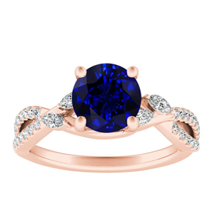 MEADOW  Blue  Sapphire  Engagement  Ring  In  14K  Rose  Gold  With  0.50  Carat  Round  Stone