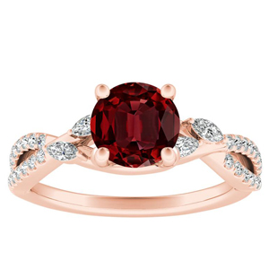 MEADOW  Ruby  Engagement  Ring  In  14K  Rose  Gold  With  0.50  Carat  Round  Stone